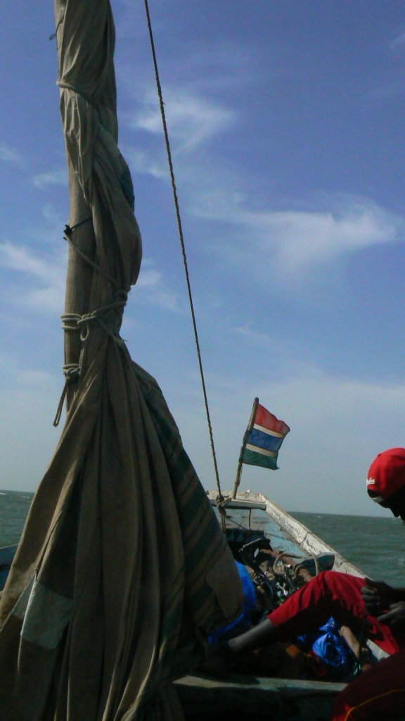 Finally the sail was furled as we approached Banjul and The Gambia.