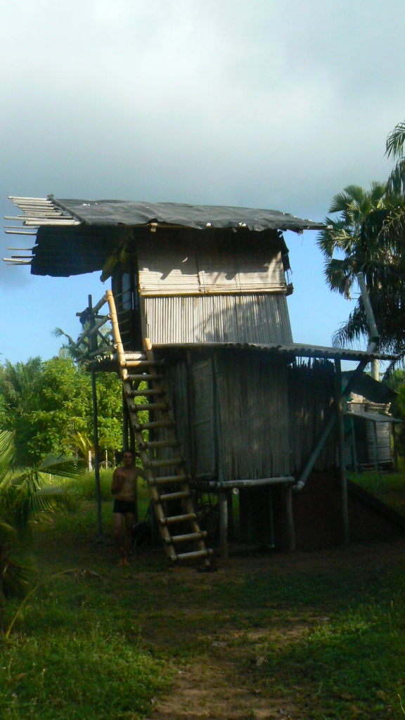 We stayed in a bamboo house on stilts with a compost toilet underneath.
